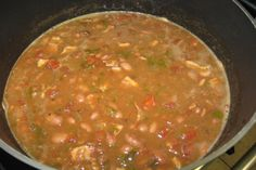 I add Andouille Sausage instead of bacon. Borracho Beans from Scratch. Photo by Chef Howe
