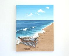 Acrylic Painting, Beach Artwork with Seashells and Sand, Rowing Boat & Footprints , Seashell Mosaic on Sand, Mosaic Art, 3D Art Collage