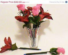 3 head bouquet silk flower single ink pen with rhinestones silk flower ink pens pink rose buds w red by writingflowers4u mightylinksfo