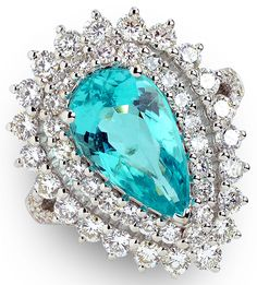 3.58 ct Copper Bearing Tourmaline Pear & 1.89 ctw Diamond Round 18K White Gold Ring W/ Appraisal Size 6.75