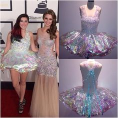 Ashley Resh in Flockflockflock couture cellophane dress at The Grammys 2014... Her friend Brooklyn Haley looks so glam in her sheer crystal encrusted Jovani gown I couldn't cut her off! A perfect pair of sparkly ladies! Ashley's dress was one of my favorite tutu style party dress designs using only iridescent cellophane, tape and a lil ribbon on her crisscross back! #plasticdress #flockflockflock #cellophane dress #cellophane #grammysfashion #iridescent #tutudress Fashion 2018, Party Fashion, Cellophane Tape, Holographic Fabric, Monster Prom, Designer Party Dresses, Prom Dresses, Formal Dresses, Halloween 2018