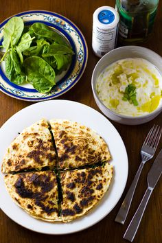Greek Spinach and Feta Quesadillas with Tzatziki Sauce