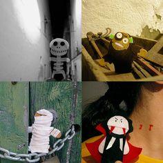 Halloween Monsters Finger Puppets Bag  5 Felt Finger by pukaca