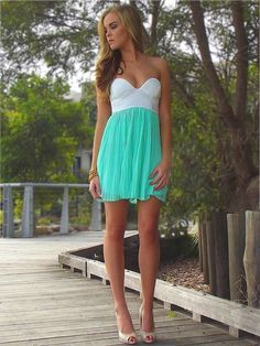 strapless white lace and turquoise dress