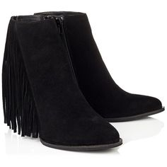 Lipsy Faith Wedge Fringed Ankle Boot ($85) ❤ liked on Polyvore featuring shoes, boots, ankle booties, black wedge booties, fringe booties, short black boots, wedge bootie e black fringe booties