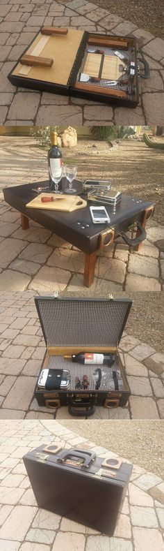 Portable DIY Picnic Suitcase Table with speaker hookup.