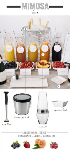 how to set up a mimosa bar - perfect for a wedding brunch! Make your own mimosa while you wait for the wedding to begin Planning Menu, Party Planning, Bar Drinks, Yummy Drinks, Beverages, Brunch Drinks, Drink Bar, Seven Bar, Tequila