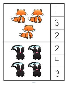 This is a forest animals theme counting/associate the number with a set center for preschool and pre-K learners.  Clip a clothespin on the number that describes the forest animals set. 0-10. There are 21 cards – 10 sets of forest animals are placed in a usually seen combination (easier to count), 10 sets are placed randomly (harder to count). The numbers could also be covered with a counter. The cards are big enough to use as flashcards with a group.