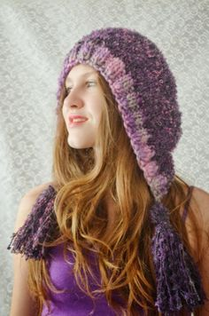 Hand knitted crocheted hat Purple Winter by irinacarmen on Etsy, $42.00