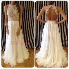 Formal Evening Dress White Beads Halter Backless Chiffon Long Prom Party Gowns #Handmade #BallGown