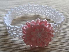 White Låcy Headband with a Pink Flower pattern by Elena Chen