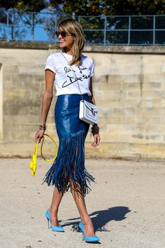 Helena Bordon's Best Street Style Outfits - blue leather fringe skirt, handwritten graphic t-shirt, + bright blue pumps