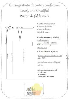 Falda recta Sewing Pants, Sewing Clothes, Diy Clothes, Pattern Cutting, Pattern Making, Easy Sewing Patterns, Learn To Sew, Pattern Books, Handmade Clothes