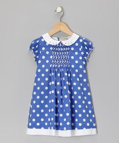 Blue & White Polka Dot Smocked Dress - Infant & Toddler