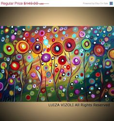 on SALE HAPPY in the SUNSET Fantasy Flowers Giclee on Stretched Canvas-limited edition-Large 36x24
