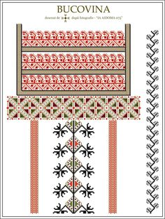 IA AIDOMA 075 - Bucovina, ROMANIA Embroidery Online, Folk Embroidery, Embroidery Patterns, Knitting Patterns, Cross Stitch Borders, Cross Stitching, Cross Stitch Patterns, Palestinian Embroidery, Irish Crochet