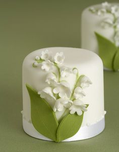 Pretty lily of the valley mini-cakes.