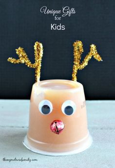 Unique Gifts Ideas for Kids! This Rudolph applesauce is my favorite.