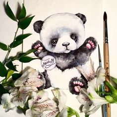 Art/Illustrations i love Cute Animals With Funny Captions, Cute Animals Puppies, Panda Love, Cute Panda, Cute Animal Illustration, Illustration Art, Art Illustrations, Panda Art, Panda Panda