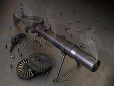 Lewis gun, also a Webley on the ground  (circa 1914)