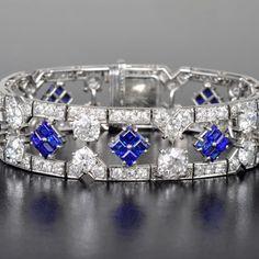 CARTIER | Art Deco Cartier Sapphire Diamond Bracelet | Estimated value between $50,000 and $100,000 | Anna Lin Jewelry