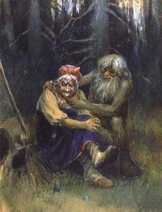 'Leshy (wood spirit) and Baba Yaga' - by Nikolai Sergeyev.-