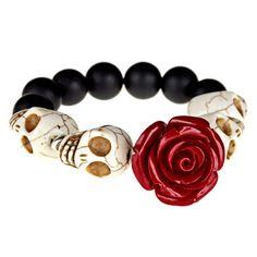 Dia De Los Muertos Bracelet (Red) | Day of the Dead Jewelry - Dia de los Muertos Jewelry
