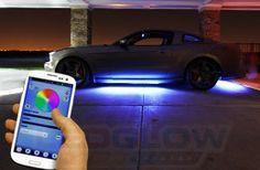Bluetooth million color led underbody lighting kit Led Glow Lights, White Motorcycle, Led Light Kits, Batmobile, Led Headlights, Bluetooth, Smartphone, Cosmetics, Lighting