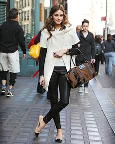 Quilted flats, leather pants and white coat