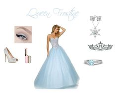 """Queen Frostine"" by kquinn-1 ❤ liked on Polyvore featuring Mori Lee, Kate Marie, Gemvara and Clarins"