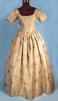 c. mid 1700's Gorgeous Brocade Fabric Ballgown possibly redesigned in 1840's with Additional Original Sleeves!