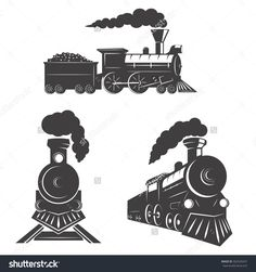 Set of trains icons isolated on white background. Design elements for logo, label, emblem, sign, brand mark. Cafe Logo, Pencil Art Drawings, Doodle Drawings, Locomotive, Logo Sketches, Railway Posters, Sales Image, Doodle Designs, Pictogram