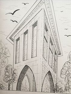 https://www.behance.net/gallery/59508015/I-love-sketching  , hand made sketch, sketch architecture, sketch perspective, balck and white, black marker, single building sketch, arched building