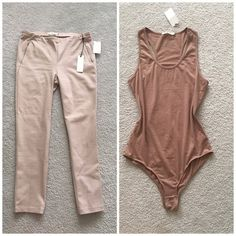 Lovely bundle  New with tag Tan skinny trousers , very stretchy material 67% Rayon 28% bulion and 4 % spandex! Perfect for summer!!!! Brown bodysuit size L But runs Like M better! Beautiful combination!!! Not Zara brand! Zara Pants Capris