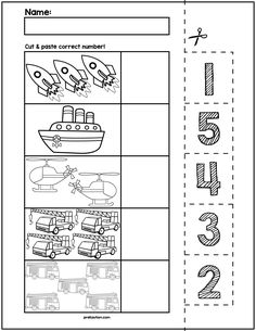 $1 | Teach counting skills with Plane, Trains, & Automobiles! Great for teaching 1:1 counting skills and number recognition for numbers 1-5. No prep and great for math centers! #preschool #preschoolers #preschoolactivities #kindergarten #Homeschooling #mathcenters #cars