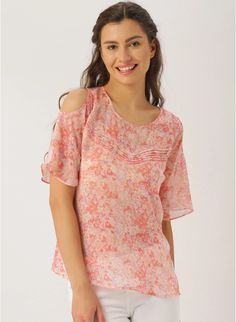 7959128df5b0e9 Buy Dressberry Pink Printed Polyester Round Neck Blouse online