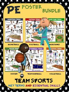 PE Poster Bundle: Team Sports- 6 Sport Skill and 6 Sport Term Posters