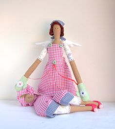 Fabric Doll Angel Gift  Handmade Rag Doll white red blue checkered cloth Brunette cute doll, Textile doll Christmas Birthday gift for a girl...