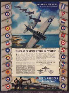 1943 WW II NORTH AMERICAN TEXAN AT-6 Trainer WWII WW2 AD 24 nations insignias