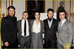 Angelina Jolie supports her cast at a special luncheon for her film Unbroken on Tuesday (December in New York City. The actress and director was surrounded by Jack O'Connell, Garrett Hedlund, Miyavi, and Finn Wittrock at the big event. Finn Wittrock, Garrett Hedlund, Jack O'connell, Miyavi, Emma Roberts, Old Actress, Celebs, Celebrities, Character