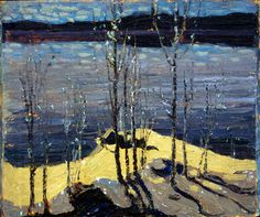 Tom Thomson - Art Nouveau, Arts&Crafts & Post Impressionnism - Moonlight and Birches (Group of Seven) Emily Carr, Group Of Seven Art, Group Of Seven Paintings, Contemporary Landscape, Landscape Art, Landscape Paintings, Impressionist Paintings, Canadian Painters, Canadian Artists