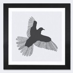 "East Urban Home 'Bird on Grey' by Florent Bodart Framed Graphic Art Frame Color: Black, Size: 24"" H x 24"" W x 1"" D"