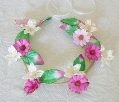 Pink White Daisy Lily Floral leaves headband Festival