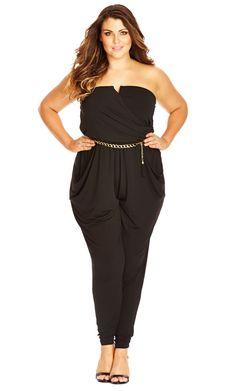 XL City Chic Sleek V Plus Size Faux Wrap Black Jumpsuit Size 22