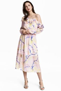 Vestido com ombro descoberto - Rosa claro/Floral - SENHORA | H&M PT 1