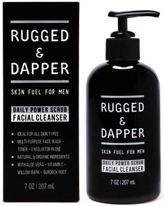 For guys who tend to get blemishes, Rugged & Dapper's Face Wash + Energizing Toner + Exfoliating Scrub in One is great: