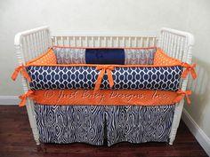 Custom Crib Bedding Set Hayden - Gray Arrows with Navy and Orange