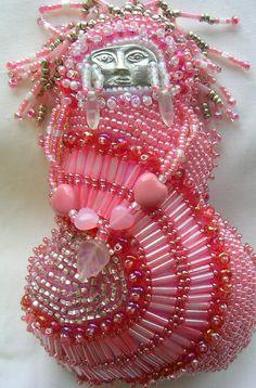 Pink Beaded Art Doll Goddess. $180.00, via Etsy.