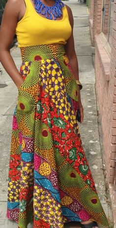 High Waist West African Patch Work Skirt w/Pockets by MAEMAswim, $85.00  This is very pretty but I am too short to wear a skirt like this, oh well guess I can dream.
