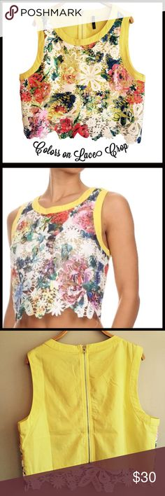 "Colors on Lace Crop Top Colors on Lace Crop Top- a high quality lace crop top with a scalloped lace front with a spattering of vibrant color. Has a zip-up back.       Large:  shoulder-14 1/2"", bust-19"", waist-17 1/2"", length-17"" Med:    shoulder-13 1/2"", bust-18"", waist-16 1/2"", length-16 1/2"" Small:  shoulder-12 1/2"", bust-17"", waist-15 1/2"", length-16"" Boutique Tops"